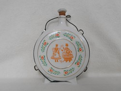 Hollóházi large folk bottle 22 cm + stopper - flawless