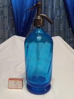 Old blue colored soda bottle