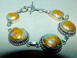 Japanese Biwa Genuine Pearl Tibetan Silver Bracelet with Rare Golden Light Playing Beads