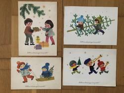 Aranyos Karácsonyi képeslapok -  Sóti Klára  rajz    -    ár / db