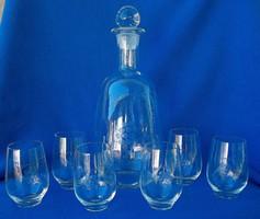 Spotless old bottle of brandy or wine tasting set