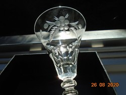 Antique faceted engraved glass cup