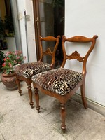 Beautiful Bieder chairs with ocelot patterned upholstery.