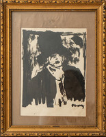 John Vaszary: female portrait antique impressionist painting signed old
