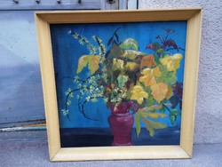 Flower still life oil-wood fiber painting
