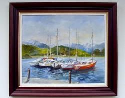 Half price reinhardt istván harbor framed: 67x77cm