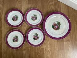 Nagyon szép lüszter mázas jelenetes négy személyes süteményes készlet.
