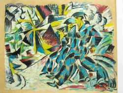 Cubo-futurist painting with A.K. monogram, Russian UNOVIS style notes