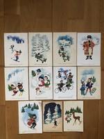 Aranyos Karácsonyi képeslapok -  Kecskeméty Károly  rajz    -    ár / db