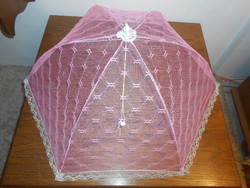 Ételbúra ételtakaró fém csipke rózsaszín összecsukható