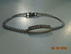 Modern very fine small precious metal beads stone bracelet with secure clasp
