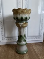 Very nice faience pedestal with pot.