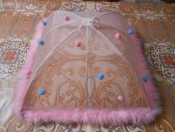 Ételbúra ételtakaró tollas rózsaszín 36*36*20 cm