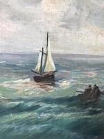 Olajfestmény, tenger, vászon, szignózott