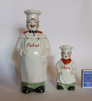 Old very cute figural porcelain sugar bowl and pepper shaker, spice holder-cook, cooker figurine