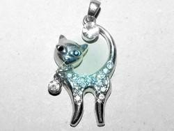 Kitten-cat zirconia crystal Tibetan silver pendant