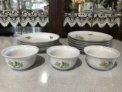Wonderful yellow rose kahla set of 6 flat 4 deep 3 compote bowl plates