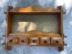 Larger custom carved shelf with five drawers