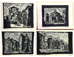 Romolo venucci (1903 - 1976): 15 linoleum engraving folders depicting the old town of Rijeka / Rijeka