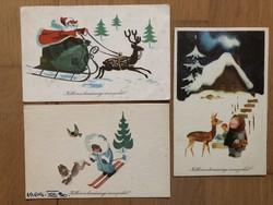 Aranyos Karácsonyi képeslapok -  Szilas Győző  rajz    -    ár / db