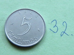 French 5 centimes 1964 c + owl 32.