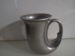 Tin - jar - American - marked - horn-shaped - old - 3 dl - 13 x 13 x 9 cm - flawless
