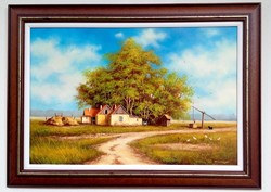 Obermayer (1965-) on a farm in Kunság 40x60cm + frame