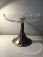 Ezüst, talpas kínáló, asztalközép