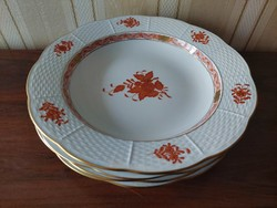 Herend orange apponyi patterned soup plates 4 pcs