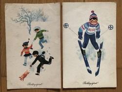 Aranyos Újévi képeslapok -  Kecskeméty Károly  rajz    -    ár / db