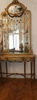 Aranyozott fa konzol tükörrel