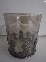 Metal - glass - 6 x 5.5 cm - candle holder - flawless