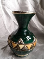LEÁRAZTAM!!! Marokkói kerámia edény fém és csont díszítéssel