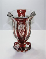 Bohemia engraved polished purple Bieder crystal vase