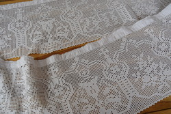 Rarity antique church religious altar tablecloth handmade crochet fillet 300 cm x 23 cm