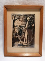 Marked woodcut life picture