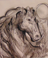 Béla Kádár with sign - horse with big mane - beautiful horse representation, shower + watercolor (with bill)