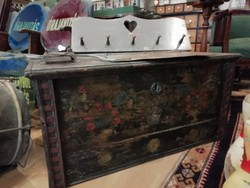 Kelengyés chest with original painting, year 1882, chest with folk decoration