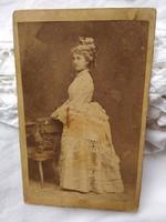 Antique sepia cdv / business card / hardback photo of elegant lady sopron / eddenburg julius köhler circa 1880
