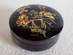 Old retro oriental Vietnamese hand painted round black marked lacquer box lacquer box wooden box wooden box