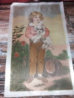 Silk portrait of little girl with dog