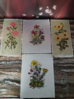4 dyed silk pictures