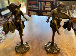 Antik angyal szobros asztali lámpa párban