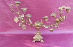 Huge antique copper candle holder gilded. 1870