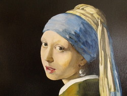 Artistic reproduction of Jan Vermeer's delft painting: Girl with Pearl Earrings