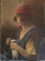 Glatter armin: portrait of sewing girl