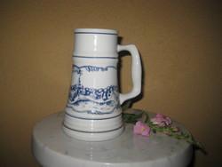 Beer krigli from Hódmezővásárhely, Great Plain porcelain, 0.5 l