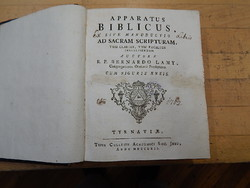 Bernardo Lamy. Apparatus  Biblicus antik könyv  1762