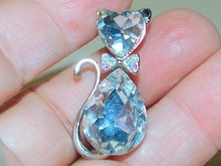 Cat kitten crystal tibetan silver vintage necklace
