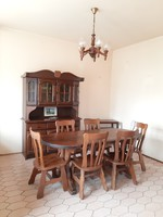 Beautiful oak dining set with sideboard and corner display case with polished glass chandelier